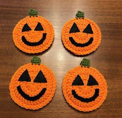 Pumpkin Coasters - Set Of 4 - Newly - Crochet Halloween Coasters