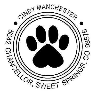 Paw - Custom Round Return Address Dog Paw Logo Self Inking Rubber Stamp Ideal