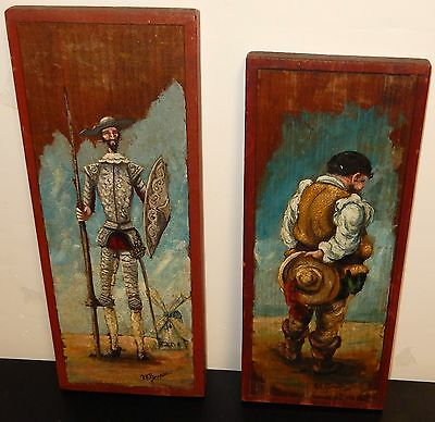 Rare Pair Of R R Pineda Oil On Wood Mexican Folk Don Quitote  Sancho Paintings