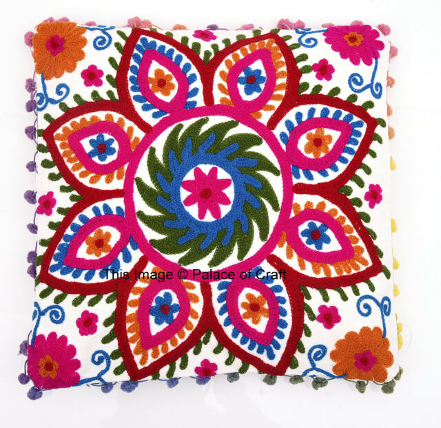 "16"" Suzani Embroidered Cushion Cover Cotton Pillow Case Throw Indian Pouf Sham"