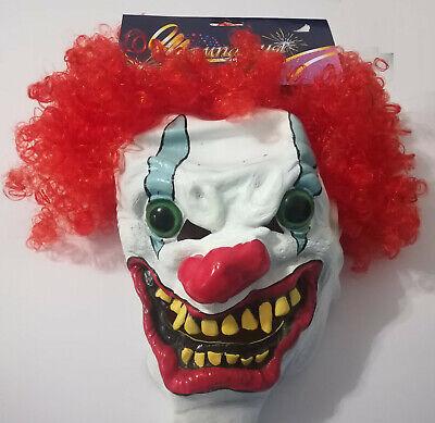 Gruselige Clown Maske, mit roten Haaren, Vollmaske, Fasching, - Gruselige Clown Maske