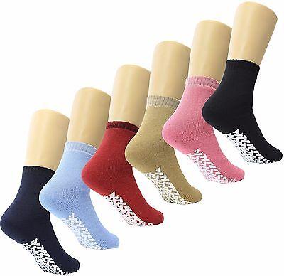 Non Skid / Slip Socks with Gripper Bottom - Hospital Patient Socks - 6 pack