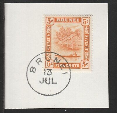 908308 Brunei 1924 RIVER SCENE 5c on piece with MADAME JOSEPH FORGED POSTMARK