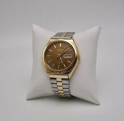 1976 Seiko Automatic 6309-8009 Gold Day & Date Pinstripe Dial Vintage Watch