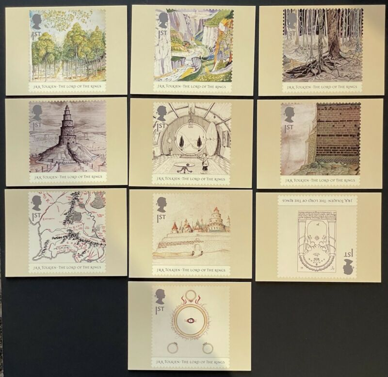 GREAT BRITAIN LORD OF THE RINGS POSTCARDS 2004 NIP PHQ CARDS JRR TOLKIEN STAMPS