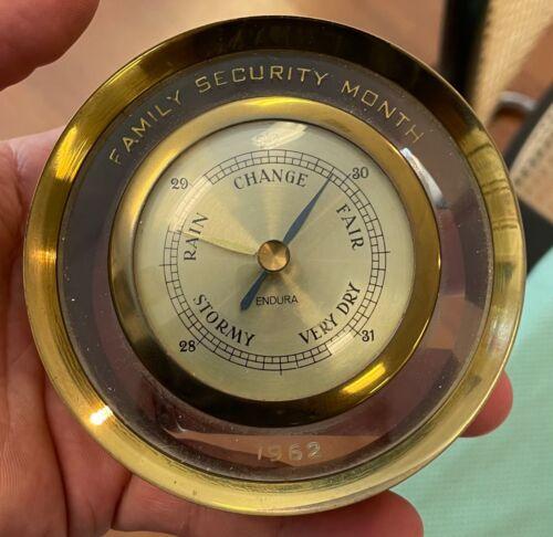 Vintage Endura 1960s Germany Heavy Brass Barometer Estate Find