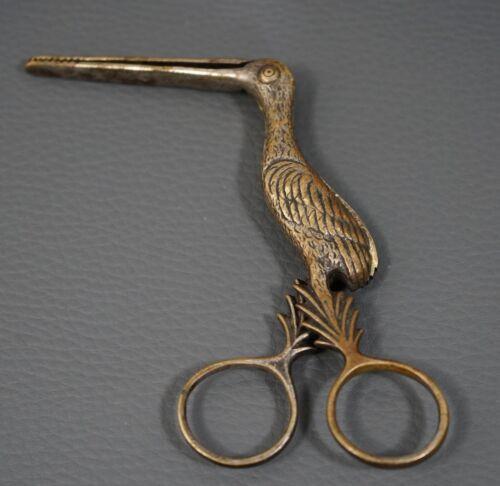 1880 Victorian Umbilical Stork Calmp Baby Midwife Silver Brass Russian A.KATSCH