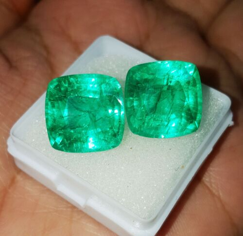 Natural Emerald Loose Gemstone 8 To 10 Cts Cushion Shape Certified Pair