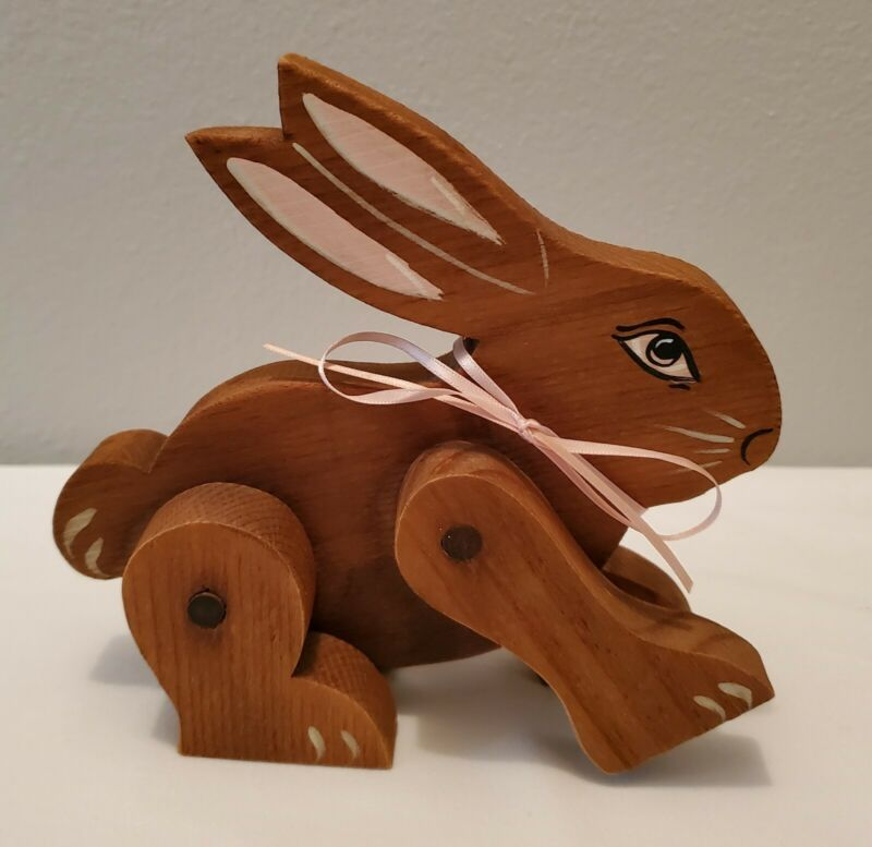 Hand Made Wooden Jointed Bunny with Hand Painted Features for Easter