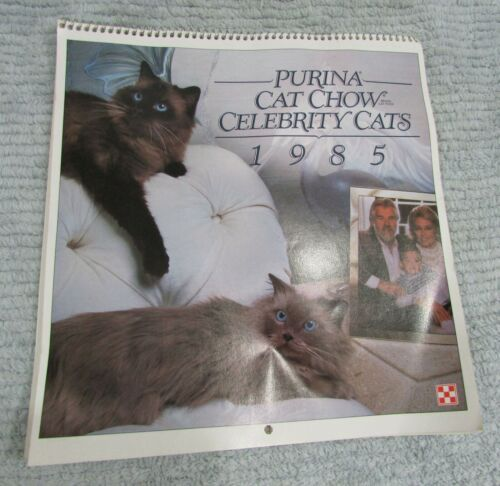 1985 = 2019 Calendar Purina Cat Chow Celebrity Cats Movie Music Stars FREE S/H