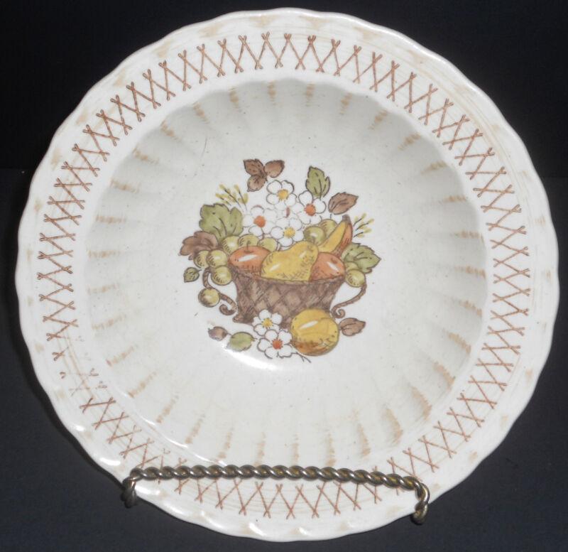 Metlox Vernonware Fruit Basket Rimmed Serving Bowl White Brown Specks Flowers VG