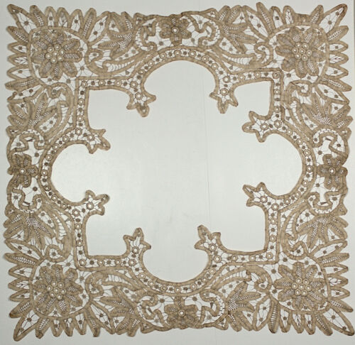 Antique Handmade Tape Lace Large Open Center Doily Table Topper Vintage Tea Dyed