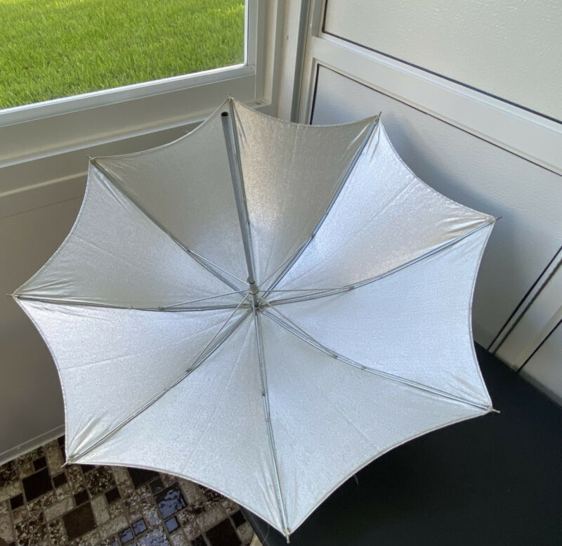 Studio Photography Silver Umbrella For Light Reflection, Vintage