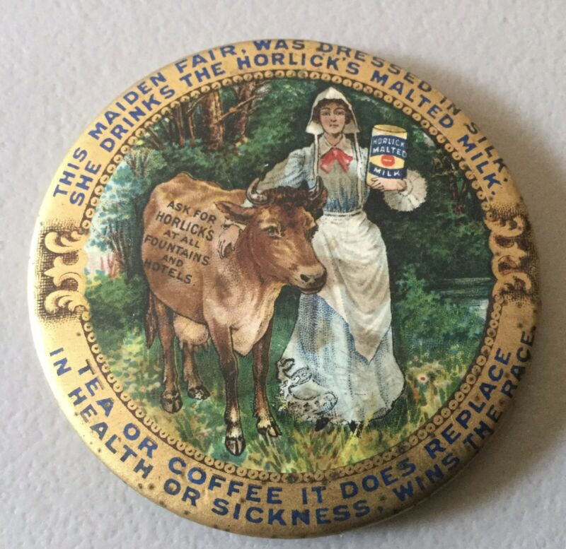 HORLICK's HORLICKS MALTED MILK POCKET MIRROR MAIDEN COW LOGO TEA COFFEE