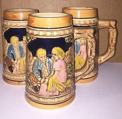 """German Beer Mug / Stein - Apex Quality Japan 5 1/2"""" Tall set of 3"""