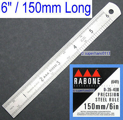 "6"" / 150mm Rabone Stainless Steel Ruler Metric & Imperial Engineers Pocket Rule"