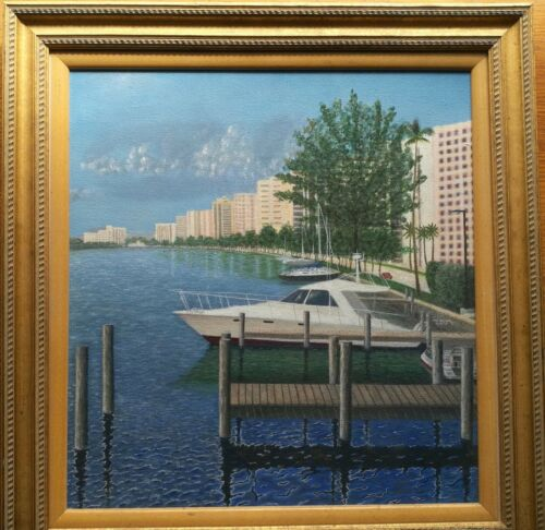 Original modern oil painting, view from coastal Florida and yachts