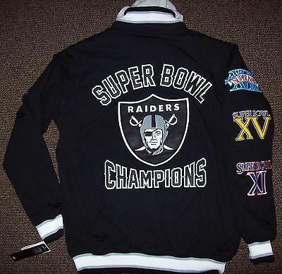 Oakland Raiders 3 Time Super Bowl Championship Cotton Jacket Large Xxl