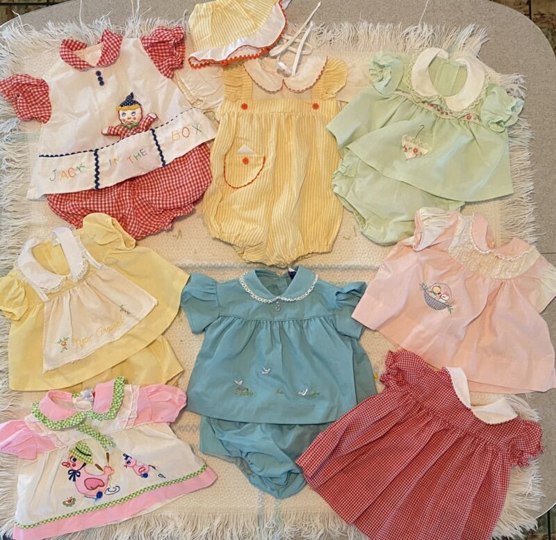 Vintage 1970's Baby Girl Dresses (Lot Of 8)
