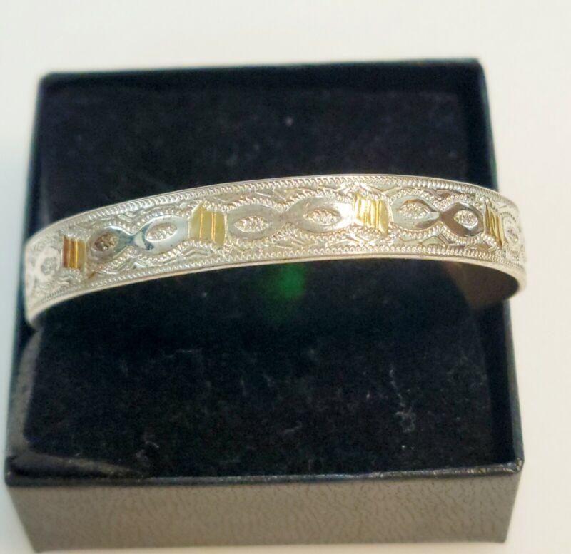 SABONA LONDON Silver / Copper Magnet Therapeutic Wide Cuff Bracelet
