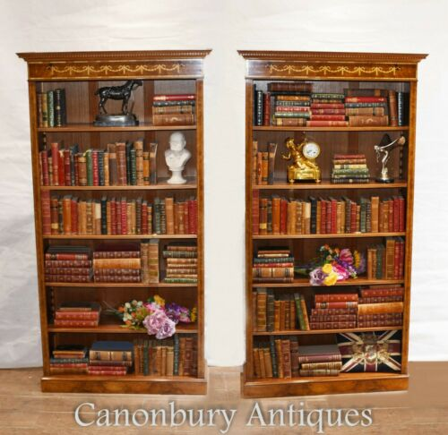 Pair Walnut Bookcases - Regency Sheraton Open Front