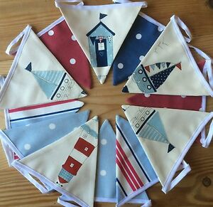 13 FLAGS BUNTING  DOUBLE SIDED Nautical Seaside Boys Nursery Beach Hut  3.15 mtr