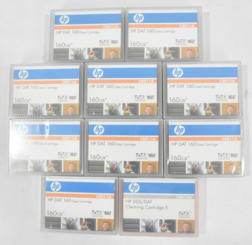 Lot of (9) HP DAT 160GB Data Cartridges C8011A + 1 Cleaning Tape C8015A