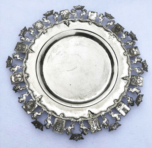 Antique 835 Silver Tray Salver Charger  With Shields Crests Family 39 cm