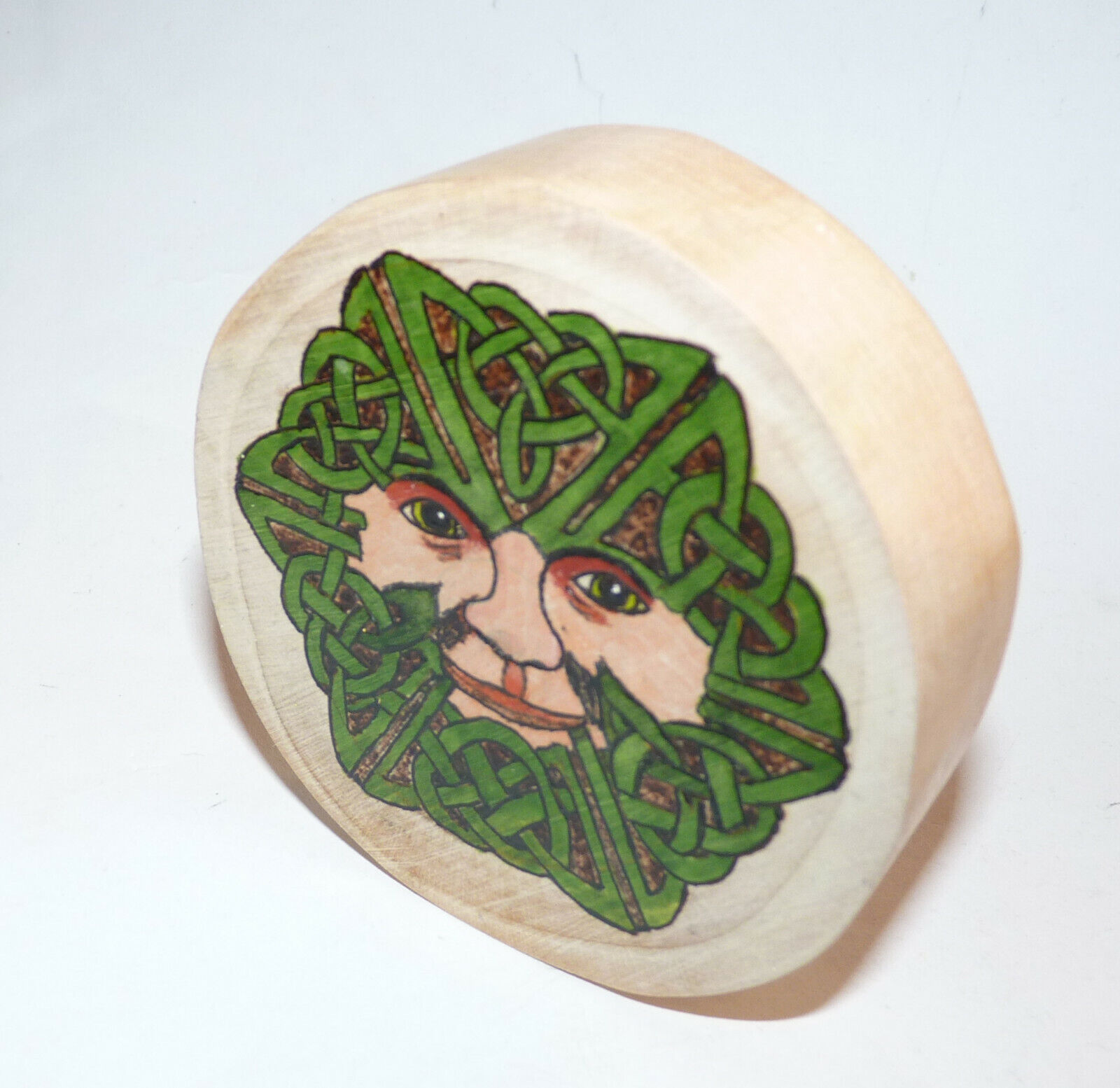 Celtic Green Man Log Slice Wall Plaque/ Altar Tile. Pagan/Wiccan/OOAK. 1