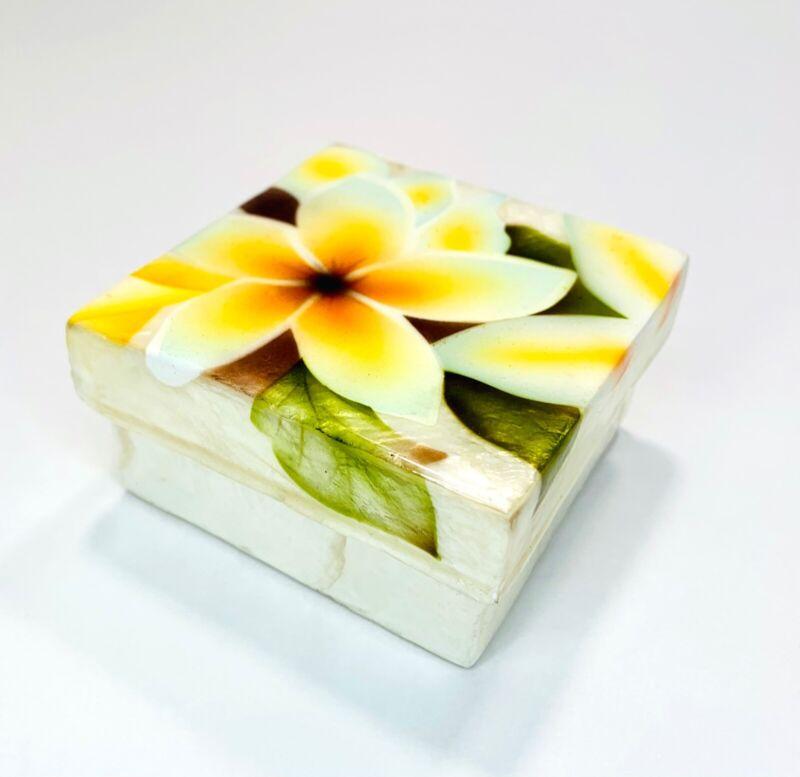 "Capiz Oyster Shell Jewelry Trinket Box Hand Painted Plumeria Flower Gift Box; 3"""