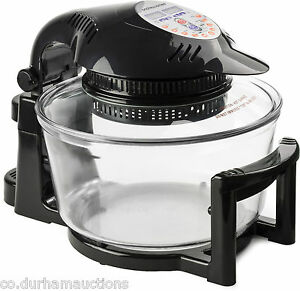 Andrew James 12 LTR Premium Black Digital Halogen Oven Cooker With Hinged Lid
