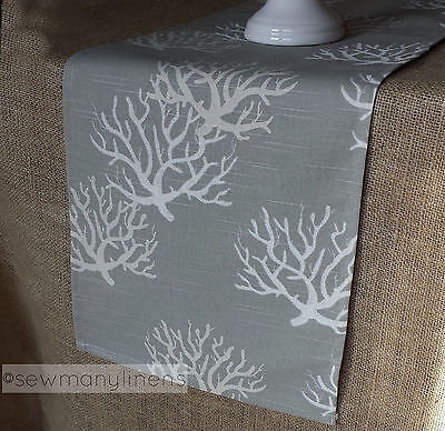 Gray Tan Taupe Table Runner Nautical Coastal Coral Reef Dining Home Decor Linens - Coral Table Runner