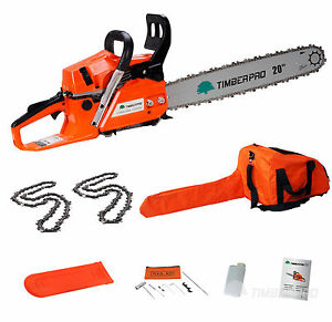 Petrol-Chainsaw-58cc-3-4HP-20-Saw-Blade-2-Chains-Bar-Cover-Bag-Tool-Kit