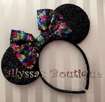 NEW Minnie Mouse Ears Headband Shimmer Black Big Multi Colors Rainbow Sequin Bow - Black Minnie Mouse