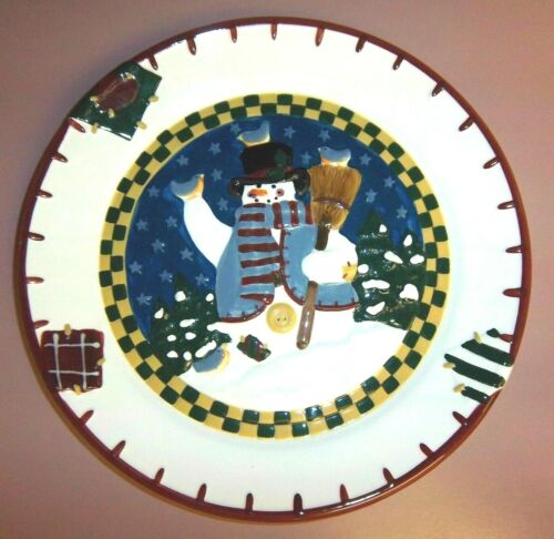 NEW DECORATIVE SNOWMAN GLASS COOKIE PLATE BY MOTHER BROWN