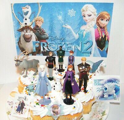 Disney Frozen Cupcake Toppers (Disney Frozen 2 Movie Cake Toppers 13 Set 10 Figures Elsa Anna New)