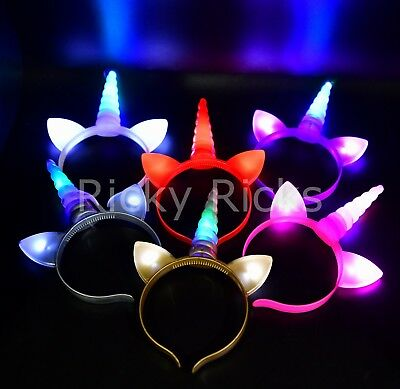 12 Light Up Unicorn Headbands Flashing Caticorn Ears Costume Horn Magical