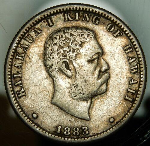 1883 Kingdom of Hawaii Silver Quarter Dollar - XF !!