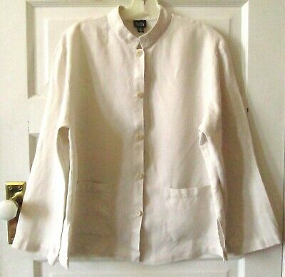 Eileen Fisher Linen Jacket, Blazer, Mandarin Collar, M - L