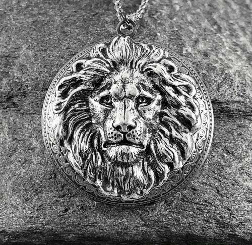 Lrg LION HEAD Locket Necklace, Antique Silver plt Art Nouveau Vtg Victorian Insp