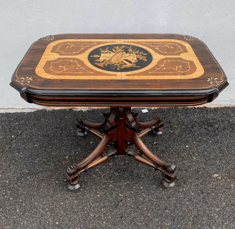 berkley & Gay Inlayed Renaissance Revival Parlor Table. 1870s.Victorian/rosewood