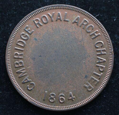 KAPPYSCOINS G1981 1864 CAMBRIDGE MA ROYAL ARCH CHAPTER CIVIL WAR  MASONIC CENT