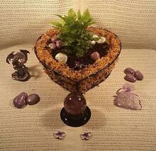 40% OFF..Living gifts, plant terrarium basket glass bowl purple Ballajura Swan Area Preview