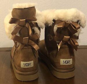 UGG Australia Bailey Bow Chestnut Suede Sheepskin Boots Size 9 Women's