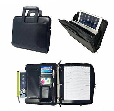 Leatherette 3-ring Binder Folder Portfolio Organizer Planner W Briefcase Handle