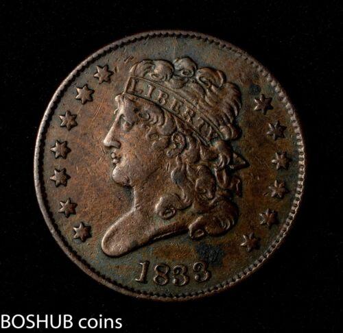 1833 Classic Head Half Cent 1/2c