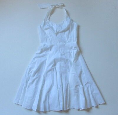 NWT Ann Taylor Halter Sundress in White Stretch Cotton Fit & Flare Dress 6 $139