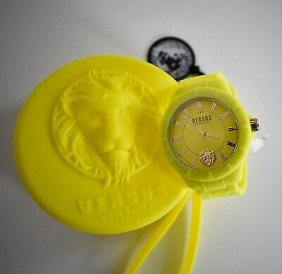 New VERSUS VERSACE WOMEN'S VSPOY0518 TOKYO Silicone CHARTREUSE Yellow Watch 42mm