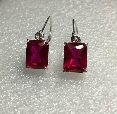 Sterling Silver Round / Oval Cut Ruby Dangle Earrings 2.85TCW~ *Various Styles* ()