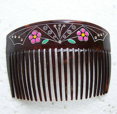 Victorian Wigs, Hair Pieces  | Victorian Hair Jewelry Late Victorian hair comb hand painted decoration hair accessory $150.00 AT vintagedancer.com